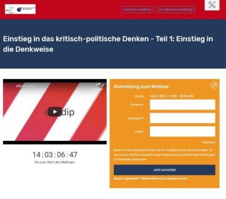 Bildschirmkopie der Startseite von Edudip