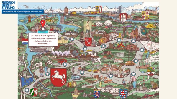 Screenshot der neuen kommunalpolitischen Lernlandkarte der Friedrich-Ebert-Stiftung in Niedersachsen.