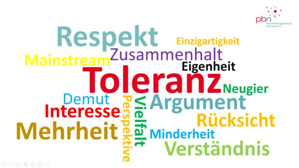 Wortwolke mit Begriffen wie Toleranz, Respekt oder Rücksicht
