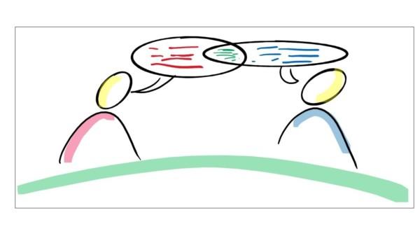 Zwei handgezeichnete Figuren im Dialog mit Sprechblasen.